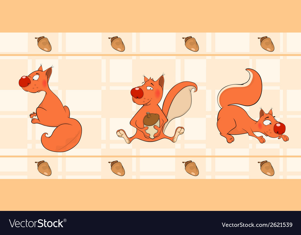 Border for wallpaper with squirrels vector | Price: 1 Credit (USD $1)