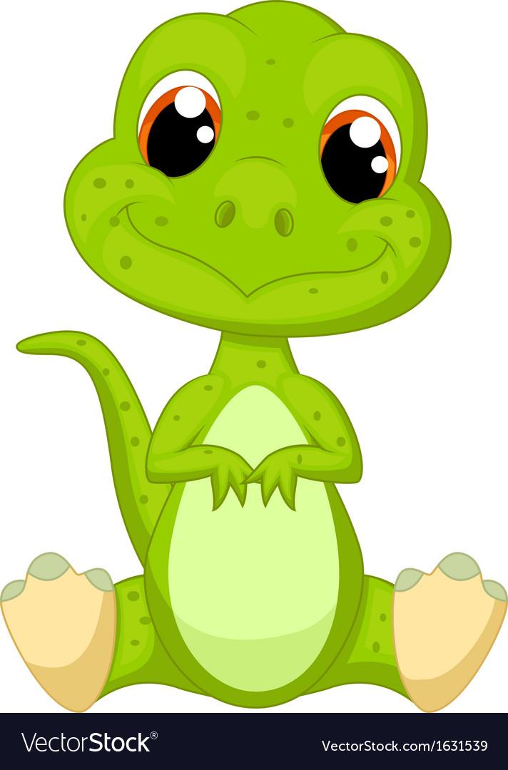 Cute green dinosaur cartoon vector   Price: 1 Credit (USD $1)