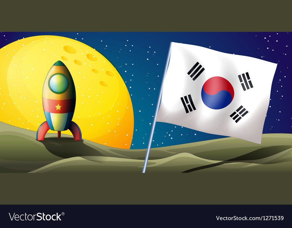 The flag of korea near an airship vector | Price: 1 Credit (USD $1)