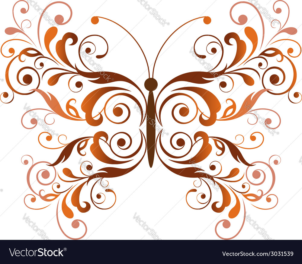 Floral butterfly design element vector | Price: 1 Credit (USD $1)