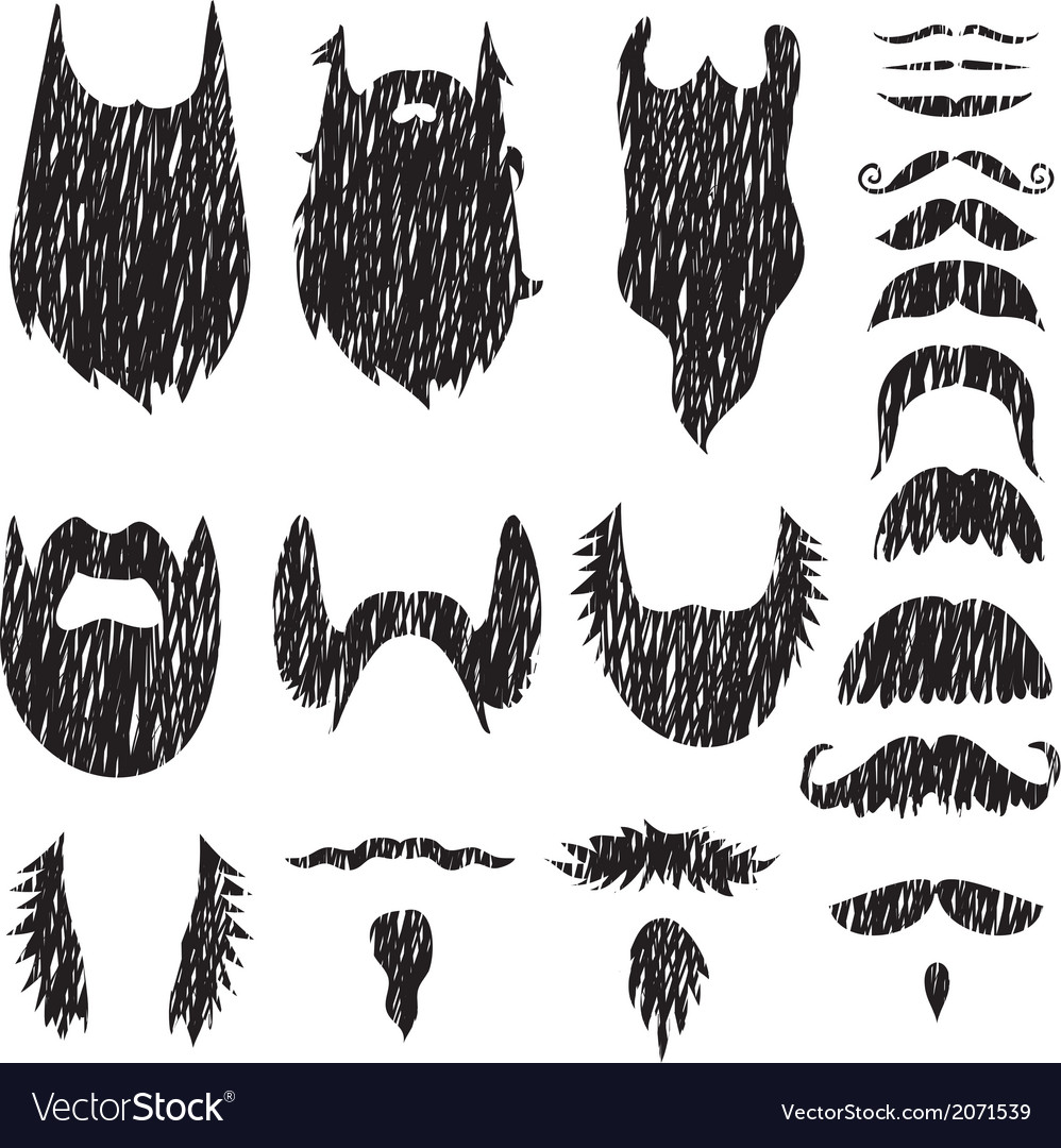 Hand drawn mustaches and beards set vector | Price: 1 Credit (USD $1)