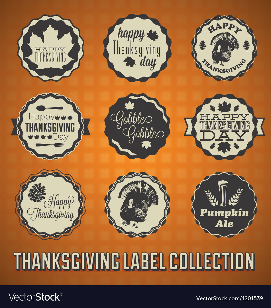 Happy thanksgiving labels and icons vector | Price: 3 Credit (USD $3)