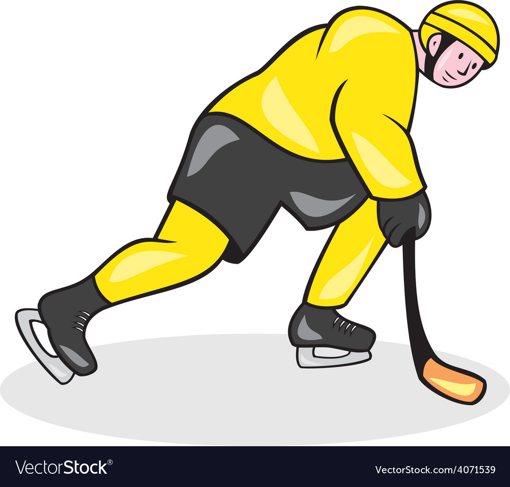 Ice hockey player with stick cartoon vector | Price: 1 Credit (USD $1)