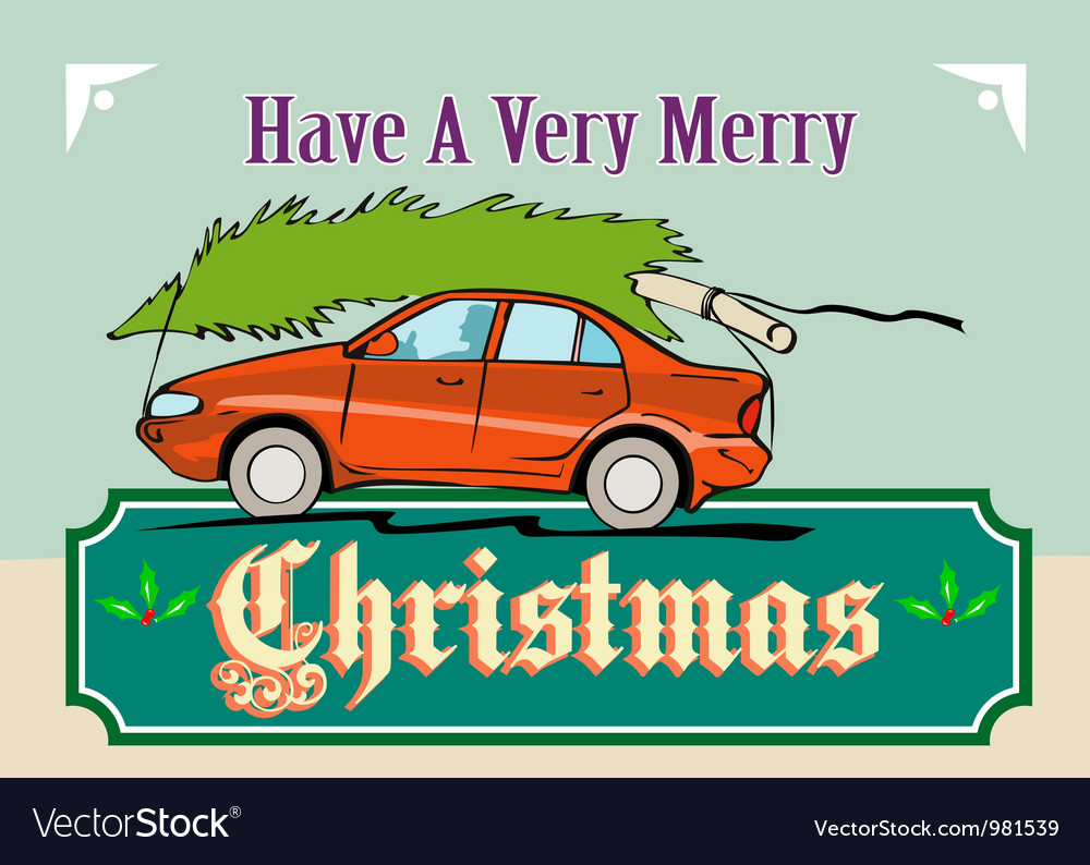 Merry christmas tree car automobile vector | Price: 1 Credit (USD $1)