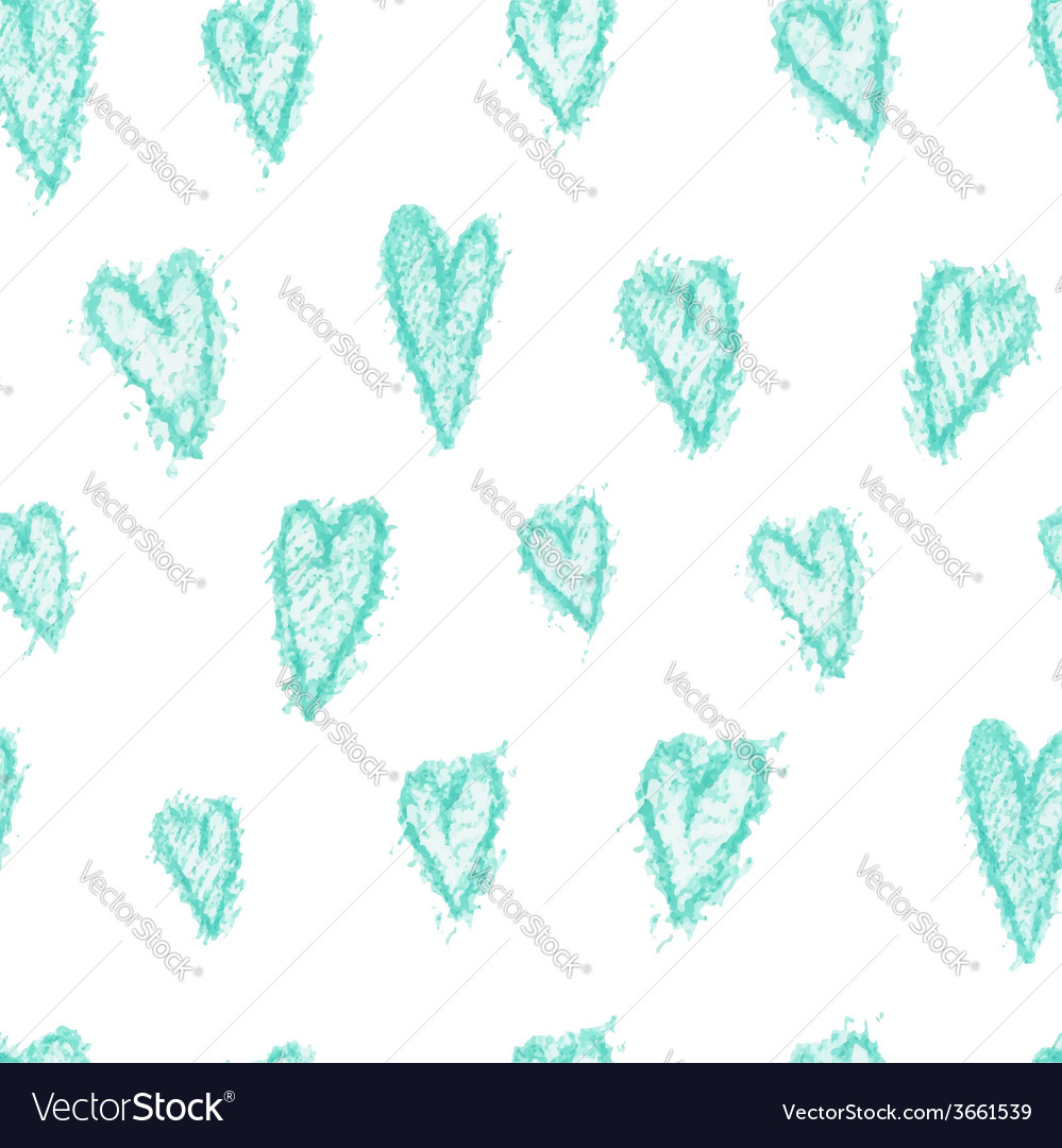 Seamless pattern - hand drawn azure hearts vector | Price: 1 Credit (USD $1)