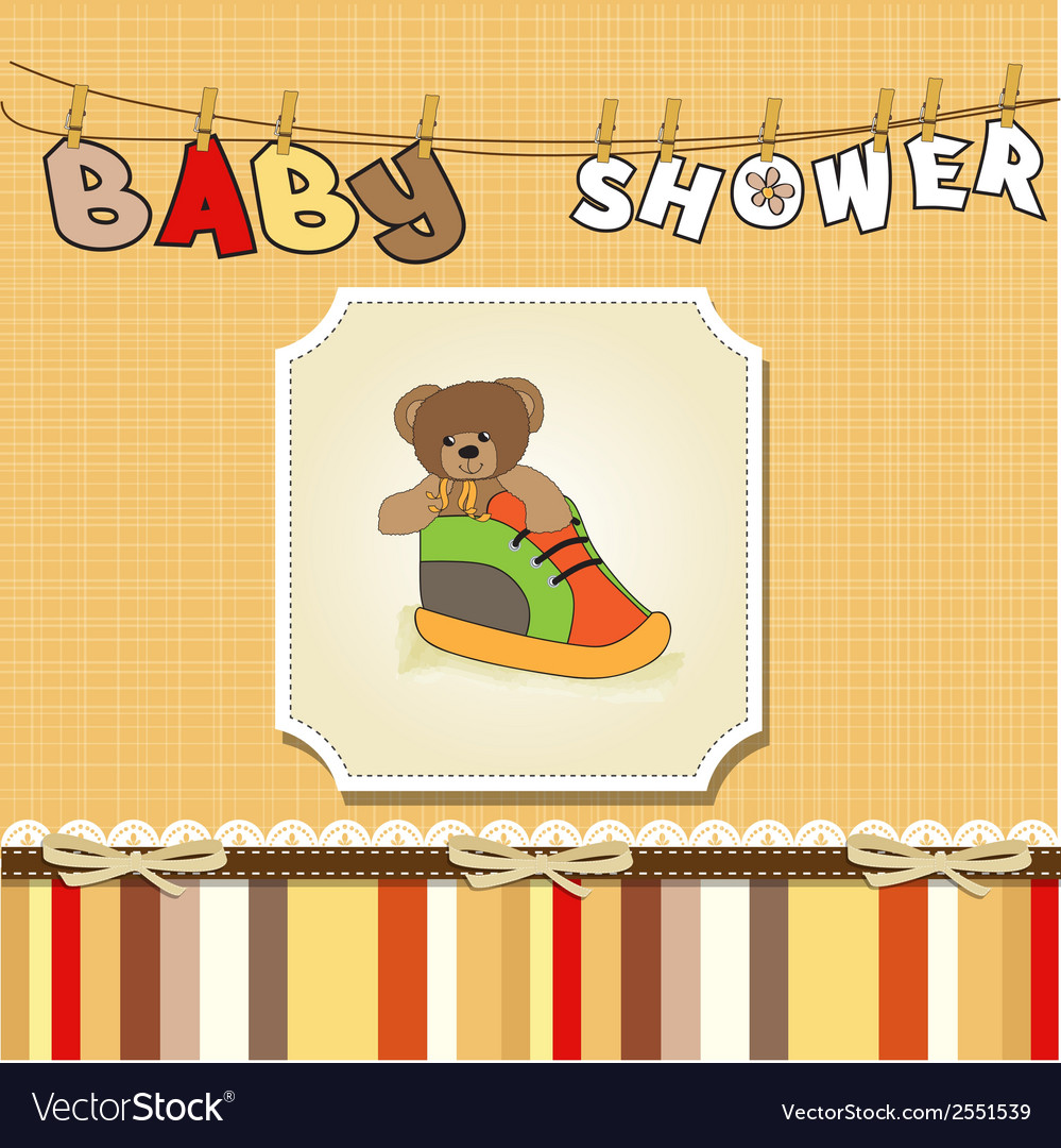 Shower card with teddy bear hidden in a shoe vector | Price: 1 Credit (USD $1)