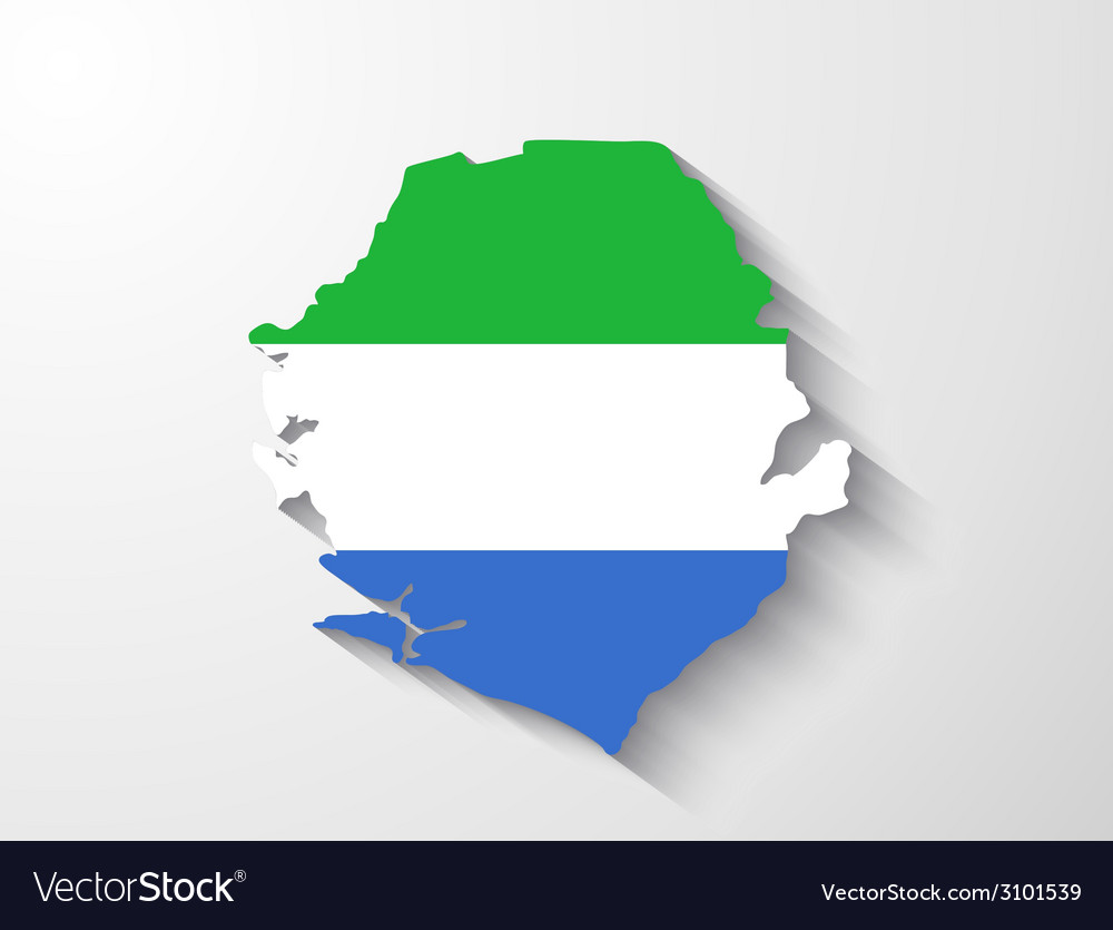 Sierra leone map with shadow effect vector | Price: 1 Credit (USD $1)