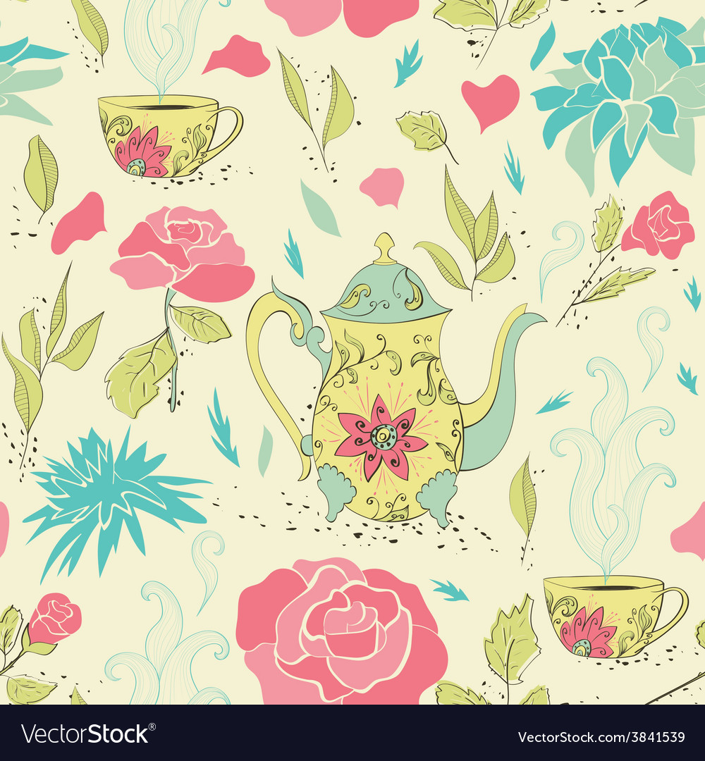 Tea party seamless pattern vector