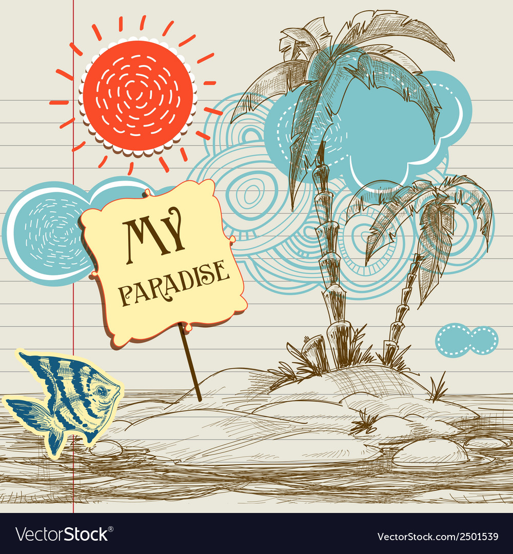 Tropical paradise background sea holiday flyer vector | Price: 1 Credit (USD $1)