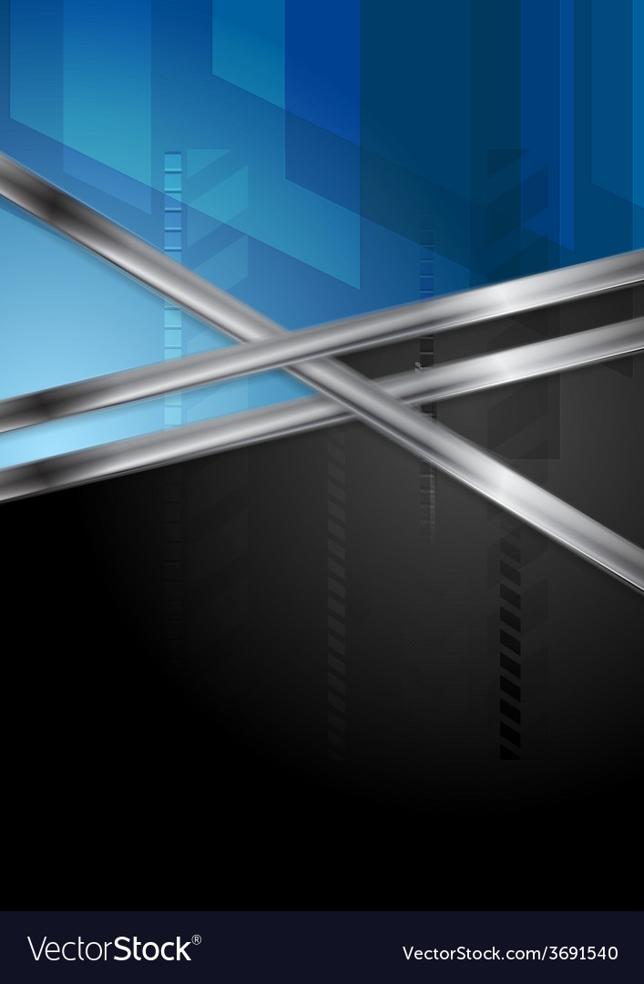 Blue and black tech background with metal stripe vector   Price: 1 Credit (USD $1)