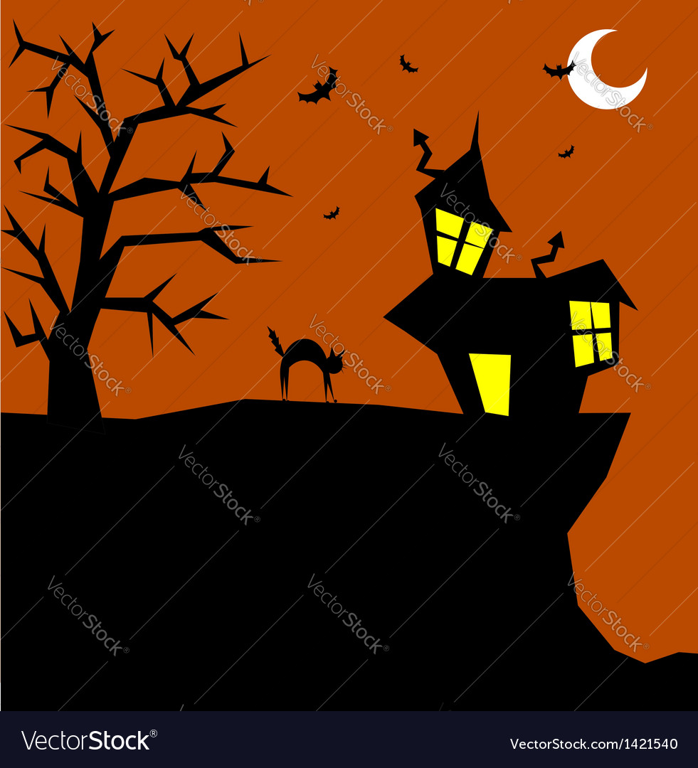 Halloween cat on a scary background vector | Price: 1 Credit (USD $1)