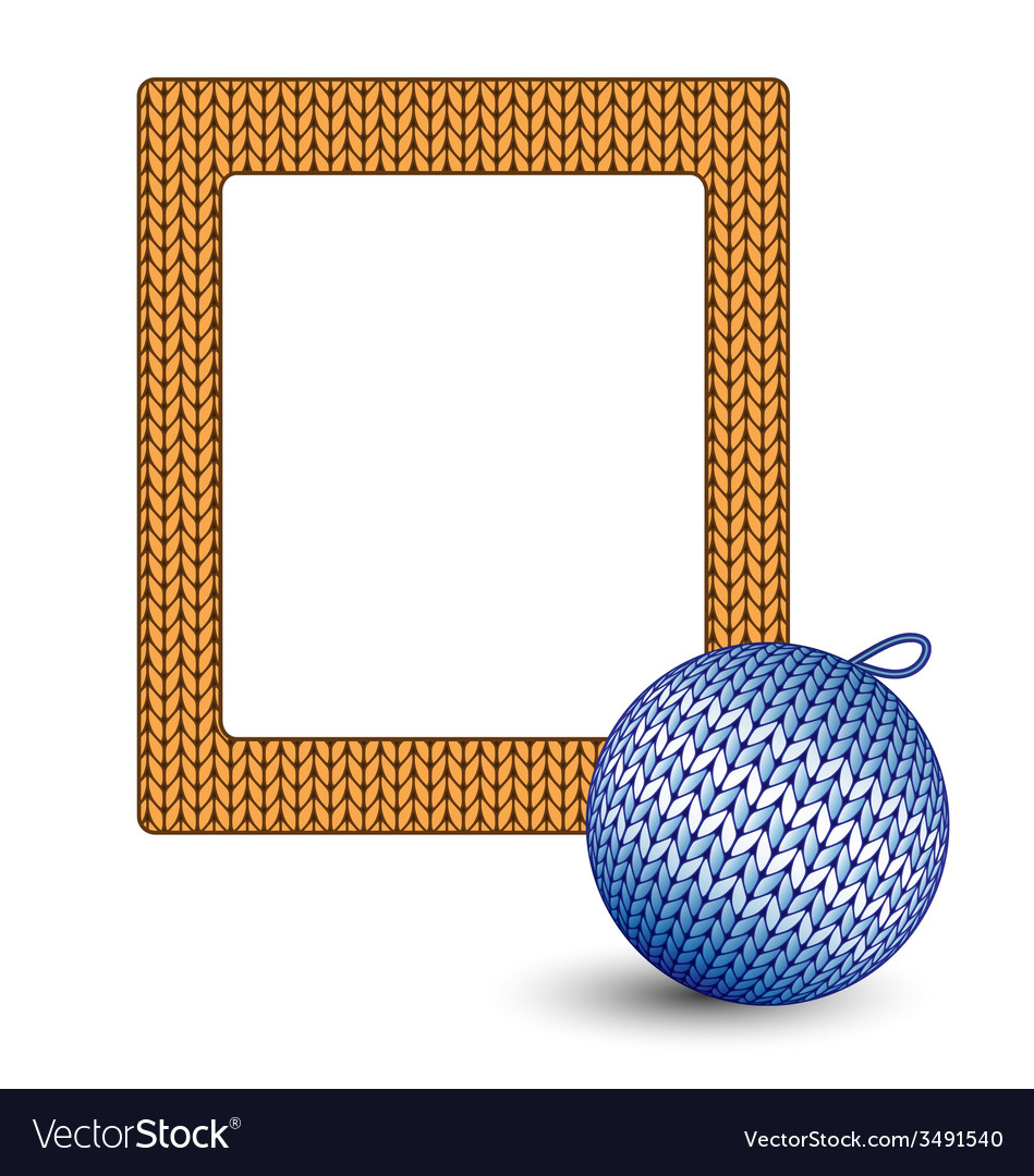 Knitted christmas ball and frame on white vector | Price: 1 Credit (USD $1)