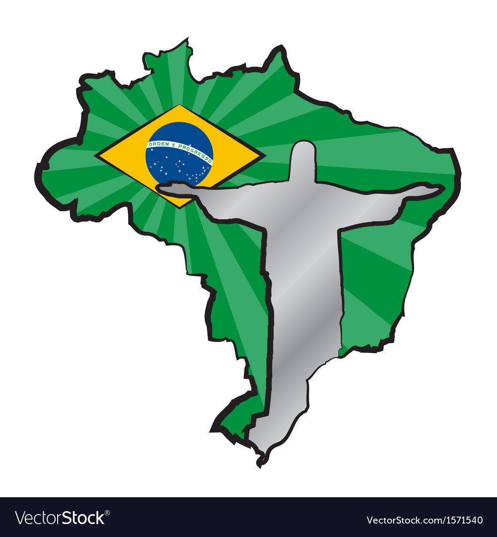 Map of brazil with flag and statue of jesus christ vector | Price: 1 Credit (USD $1)