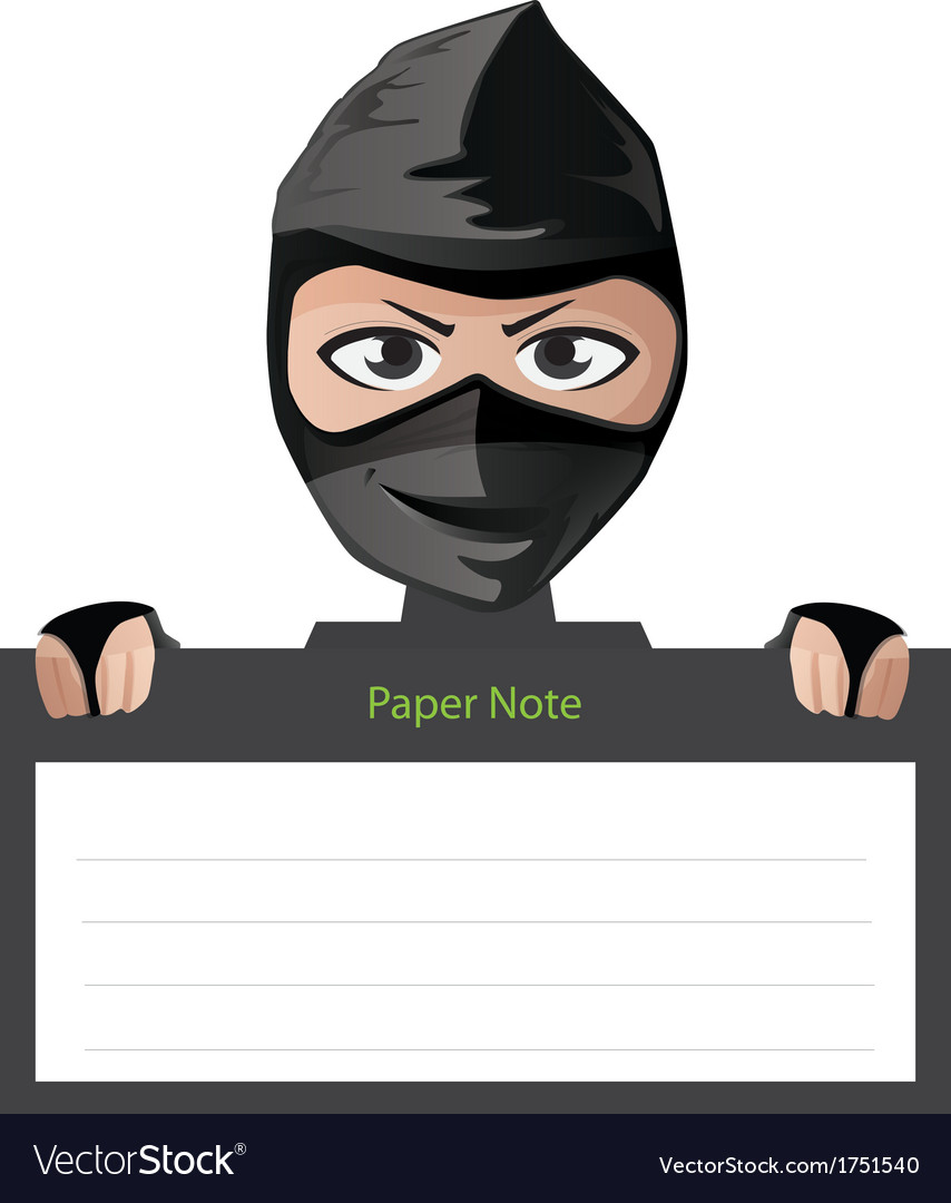 Ninja paper note character vector | Price: 1 Credit (USD $1)