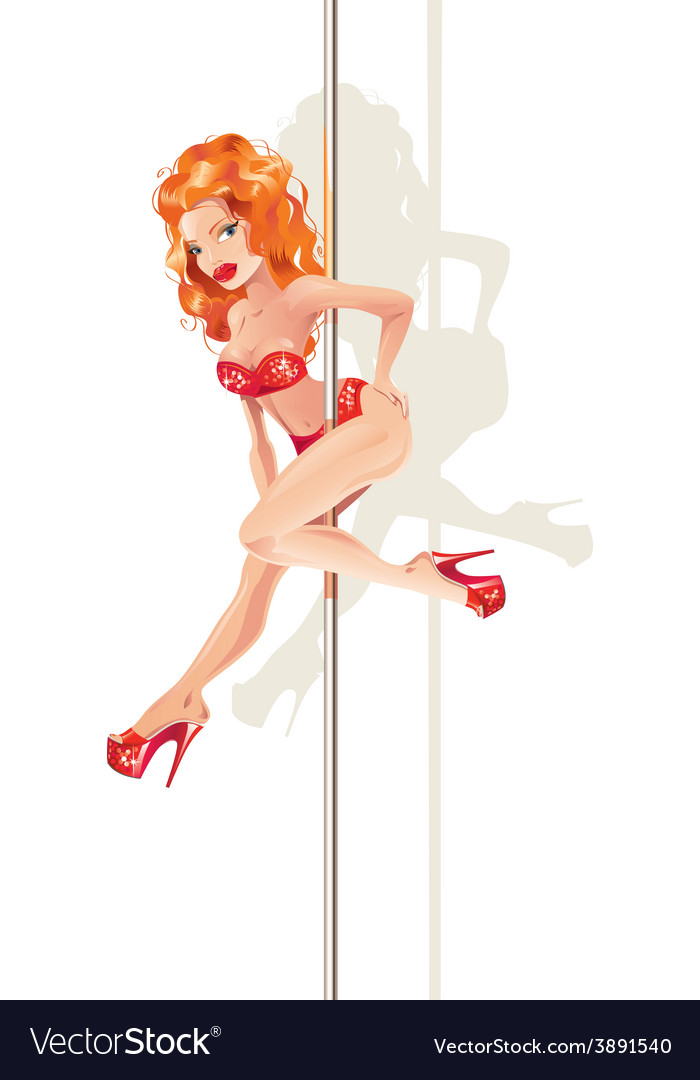 Redhead pole dancer vector | Price: 3 Credit (USD $3)