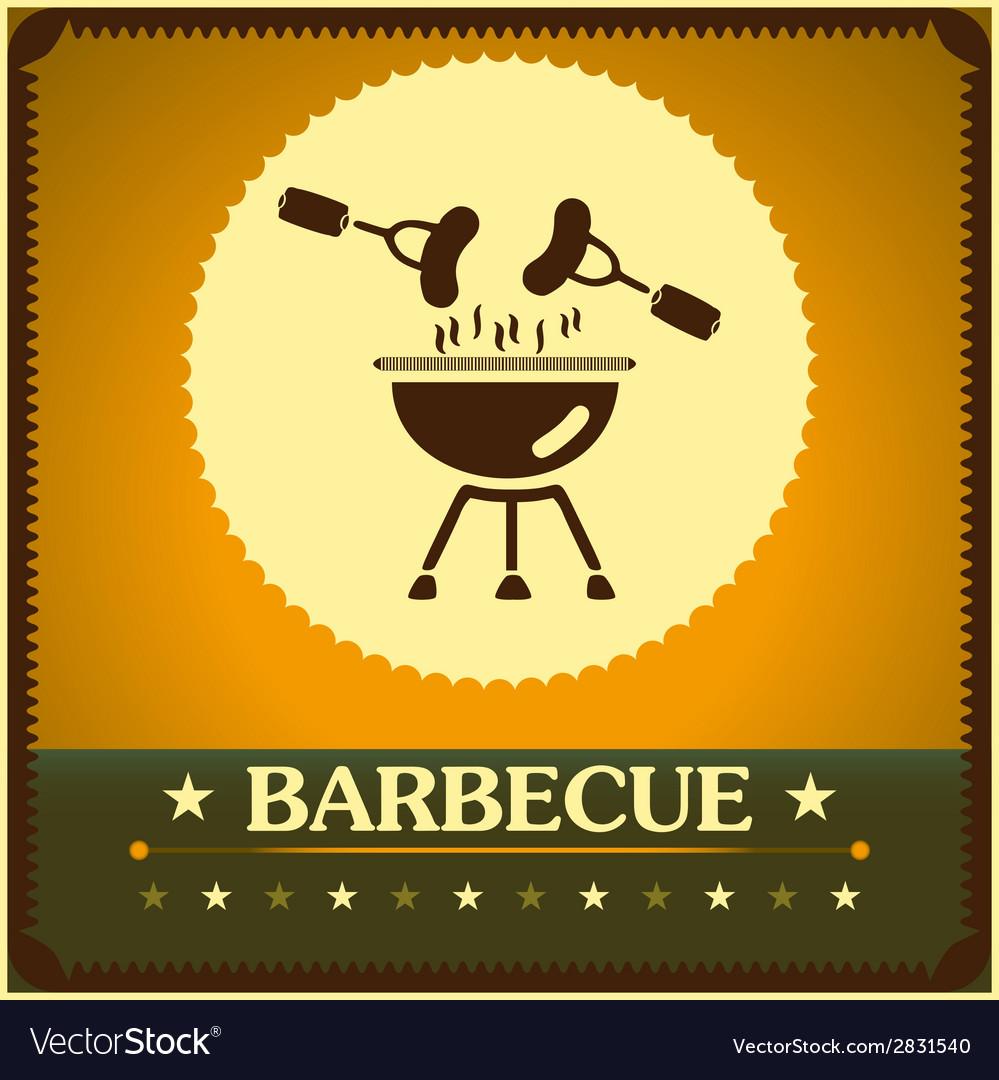 Retro barbecue grill poster design menu background vector | Price: 1 Credit (USD $1)