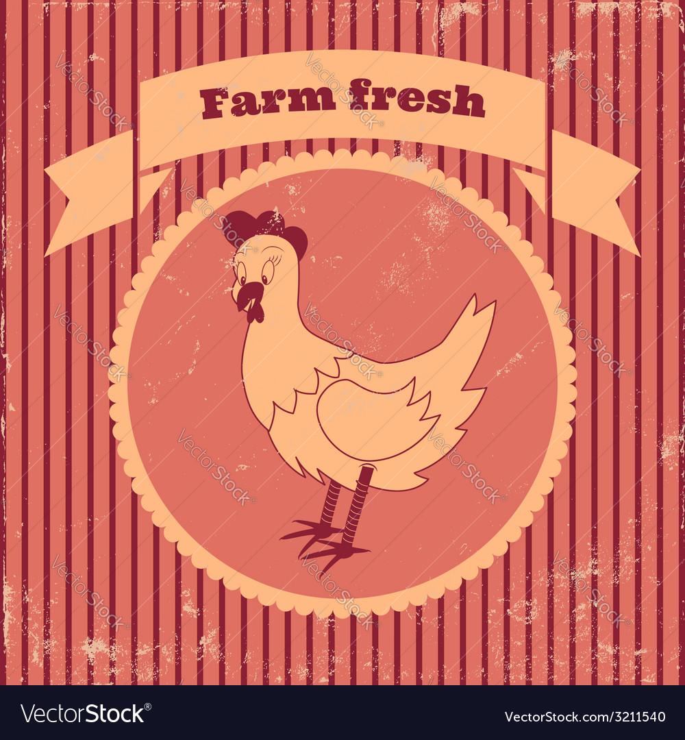 Retro chicken vector | Price: 1 Credit (USD $1)