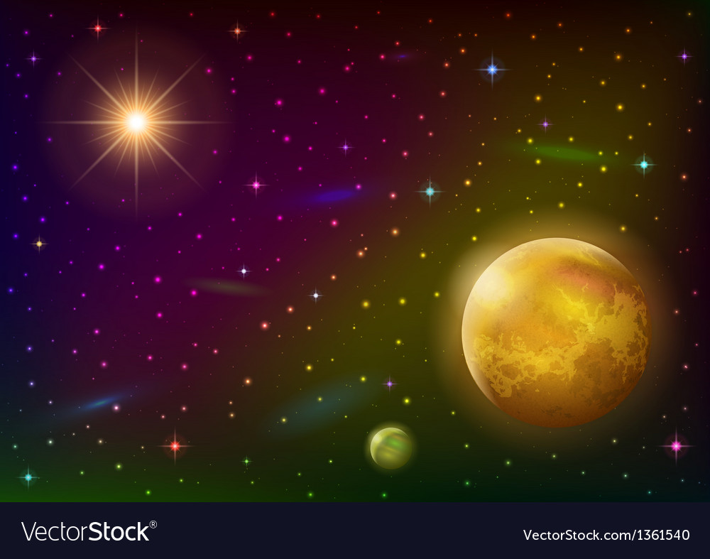 Space background with planet and sun vector | Price: 1 Credit (USD $1)
