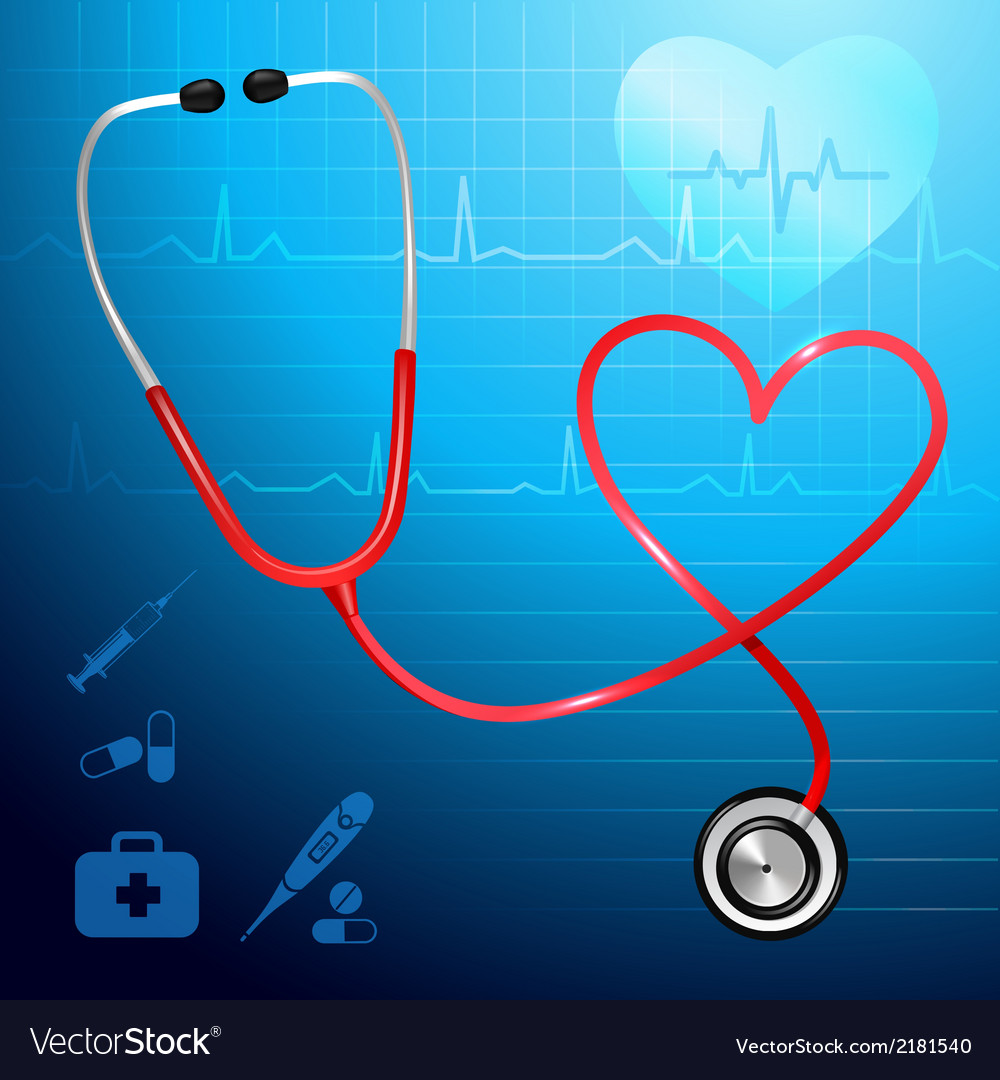 Stethoscope heartbeat background vector   Price: 1 Credit (USD $1)