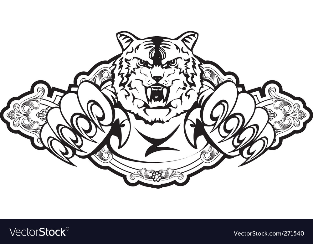 Tiger attacks in frame vector | Price: 1 Credit (USD $1)
