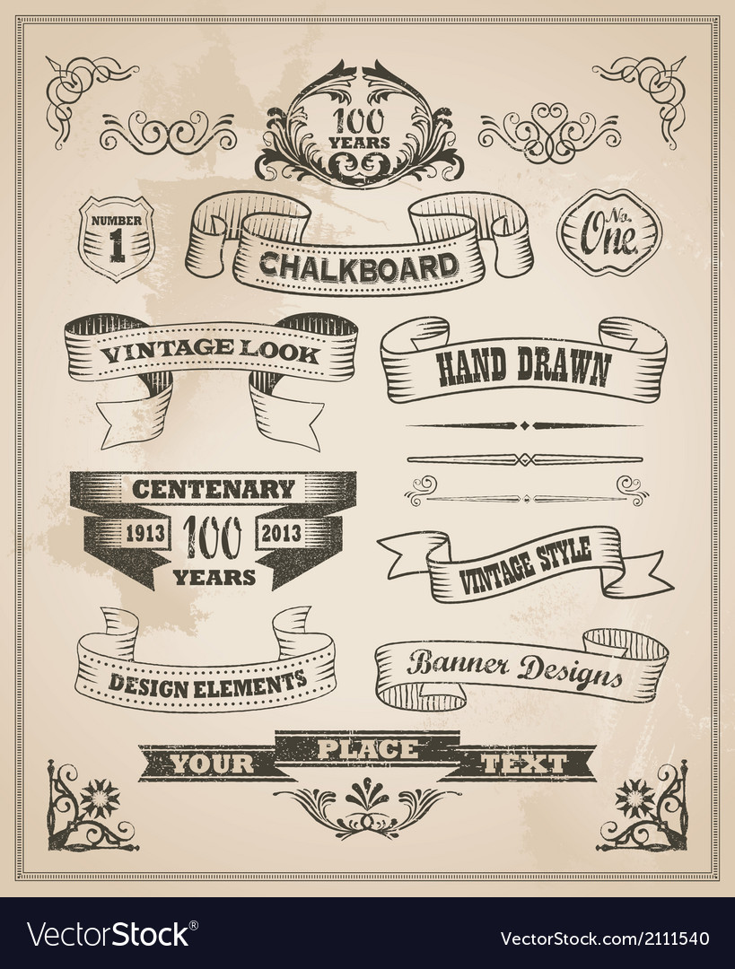 Vintage hand drawn design elements - banner set vector | Price: 3 Credit (USD $3)