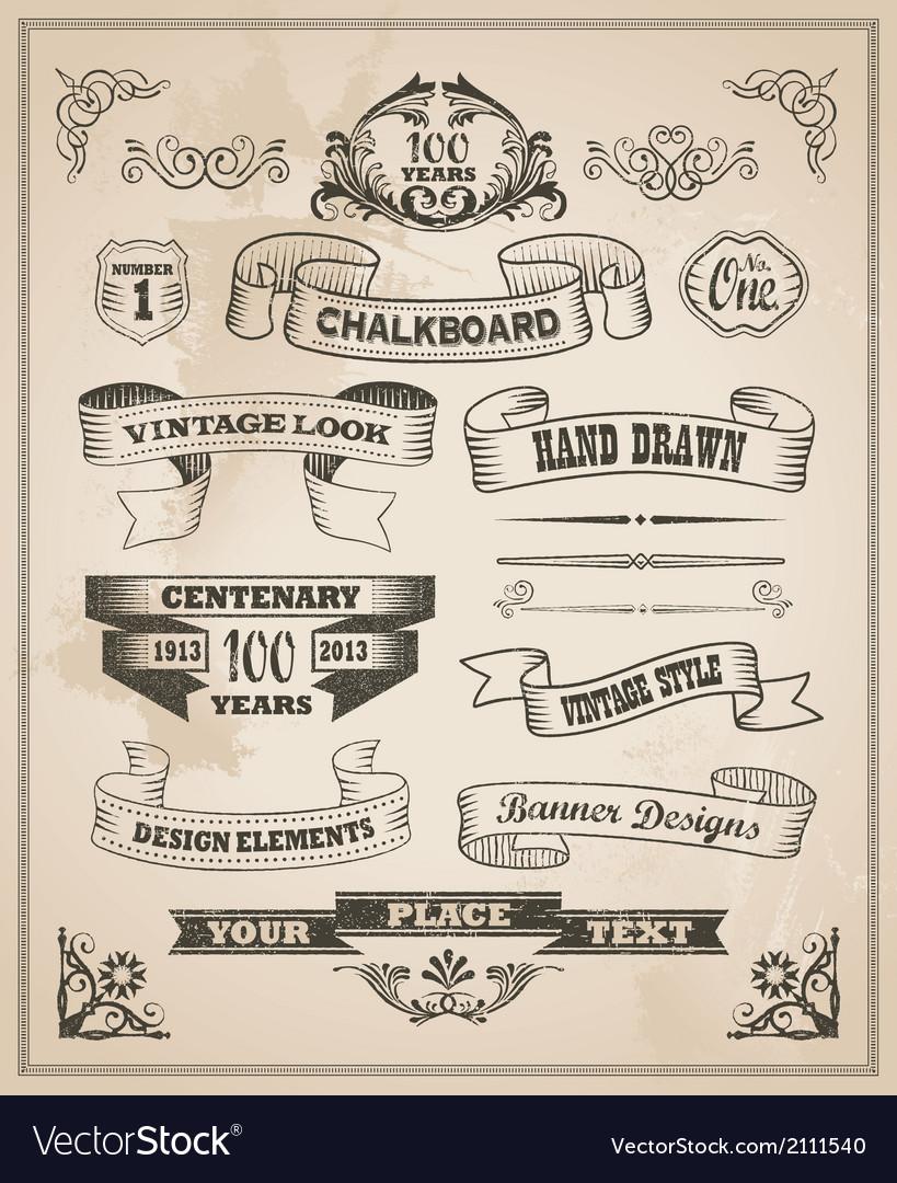 Vintage hand drawn design elements - banner set vector | Price: 3 Credit (USD $3)
