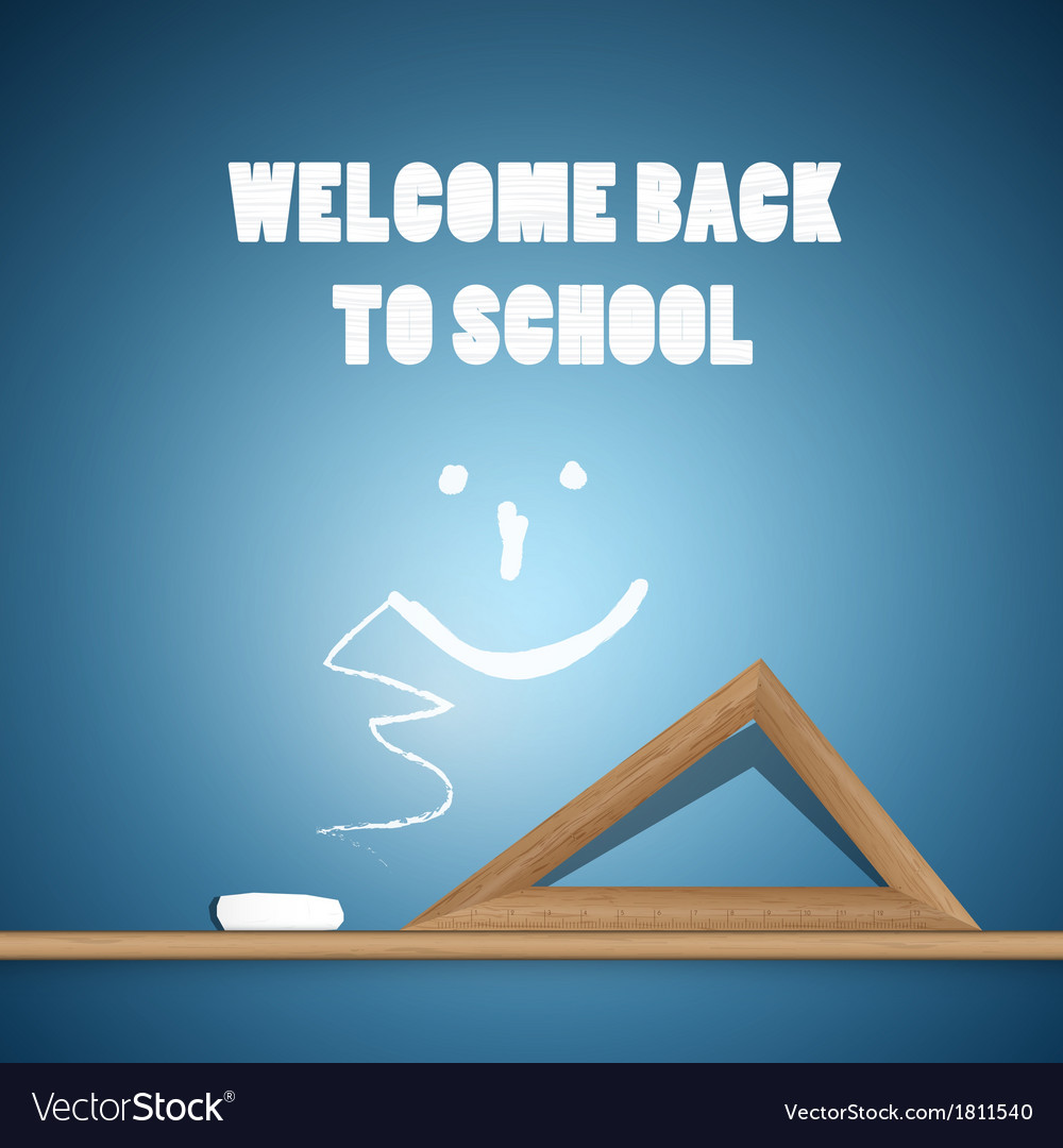 Welcome back to school blue background vector | Price: 1 Credit (USD $1)