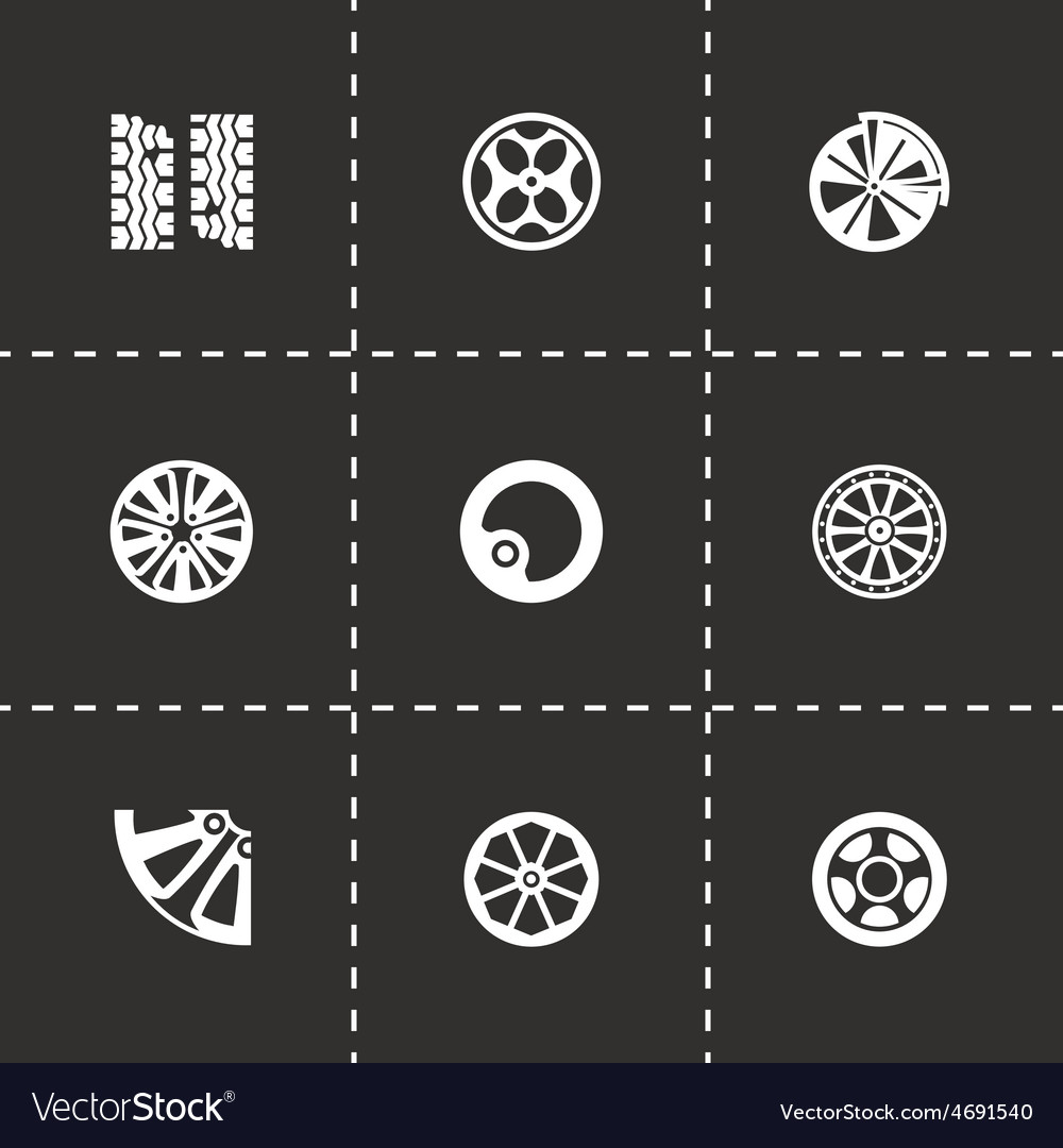 Wheel icon set vector | Price: 1 Credit (USD $1)