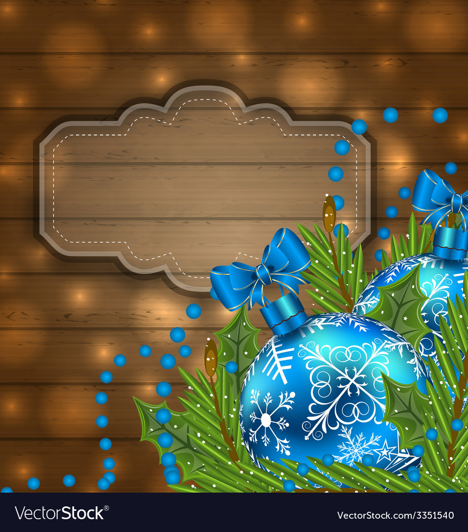 Wooden label with christmas balls and fir twigs - vector | Price: 3 Credit (USD $3)