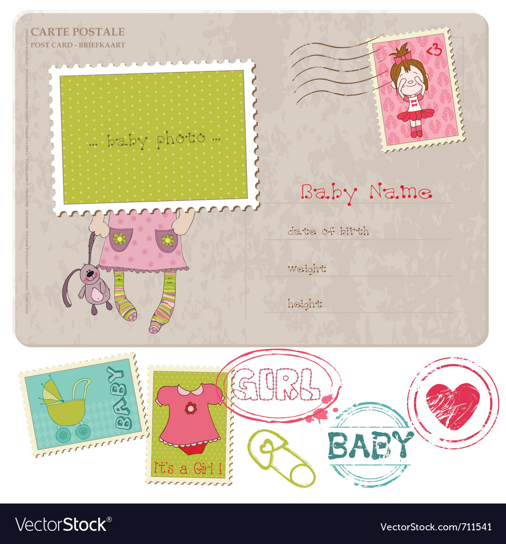 Baby girl greeting postcard vector | Price: 1 Credit (USD $1)