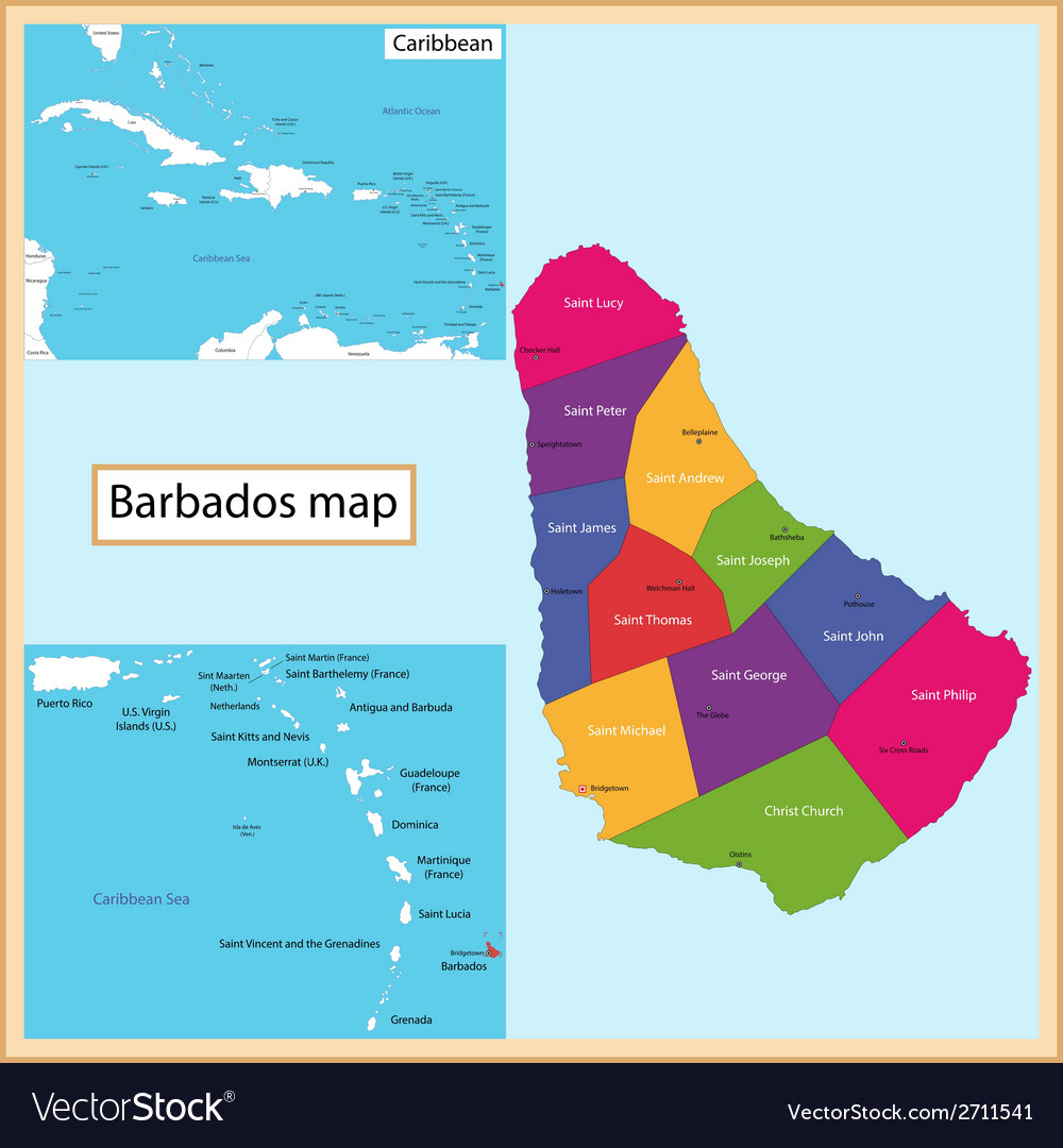 Barbados map vector | Price: 1 Credit (USD $1)