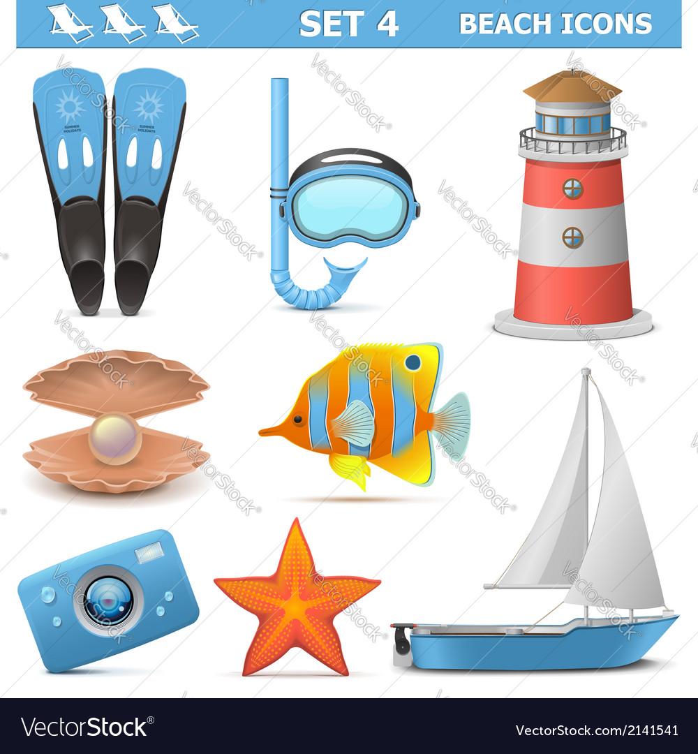 Beach icons set 4 vector | Price: 3 Credit (USD $3)