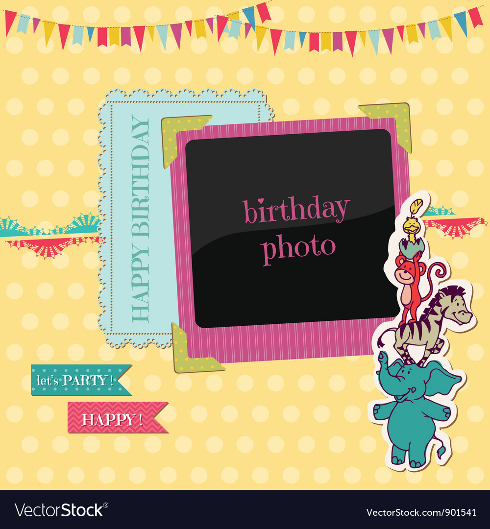 Birthday card with photo frame vector | Price: 1 Credit (USD $1)