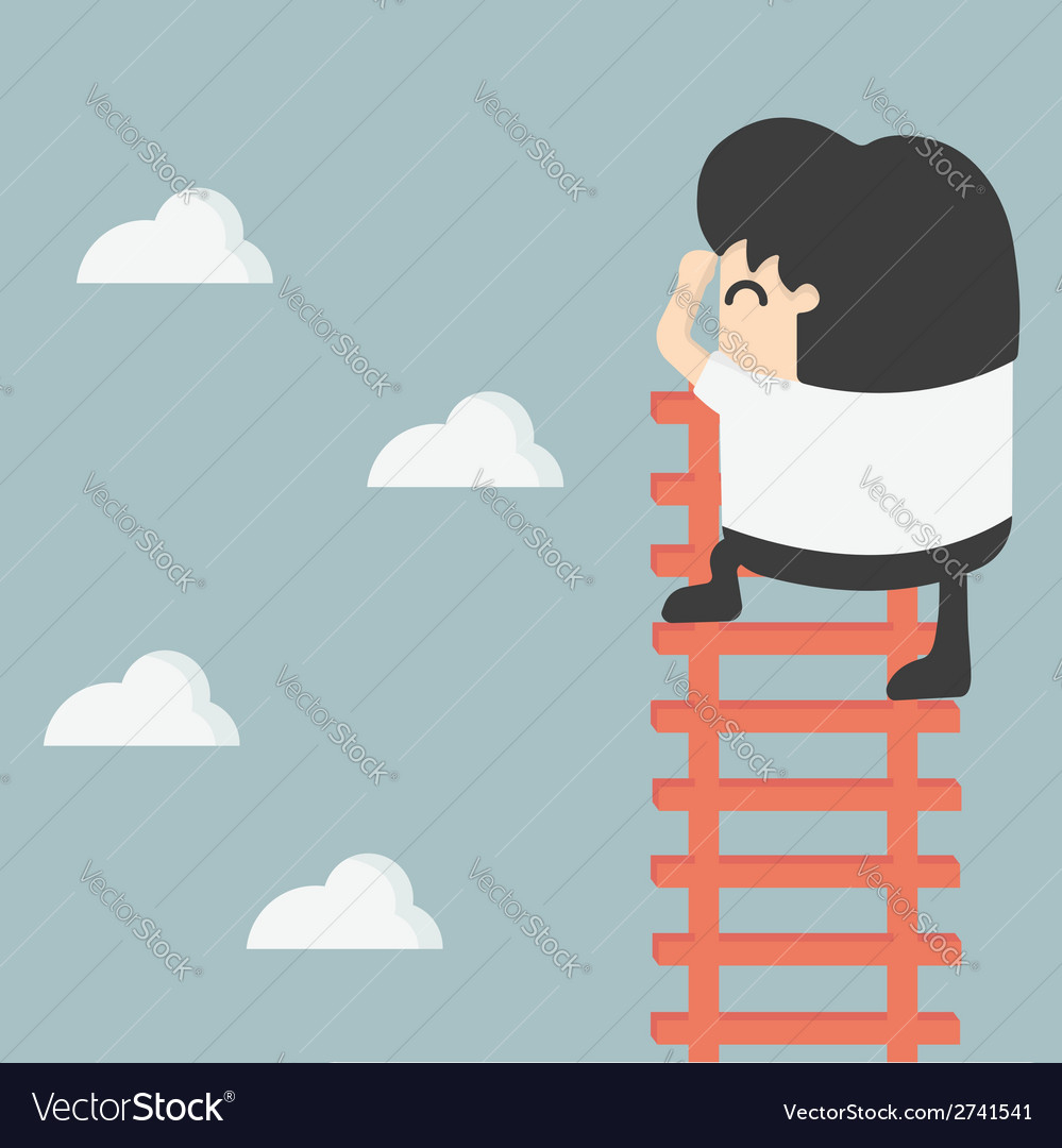 Businessman on ladder looking for success vector | Price: 1 Credit (USD $1)