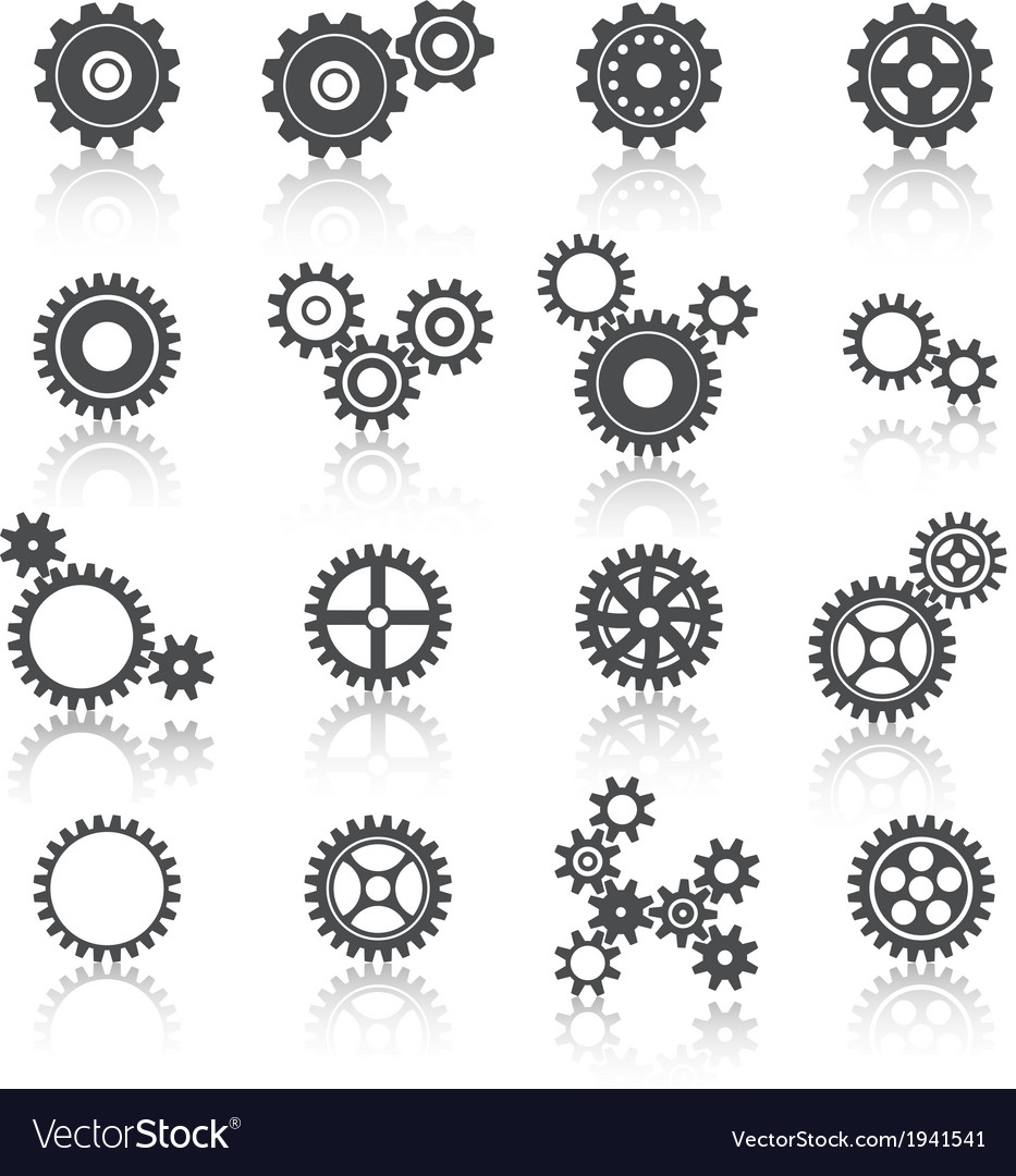 Cogs wheels and gears icons set vector | Price: 1 Credit (USD $1)