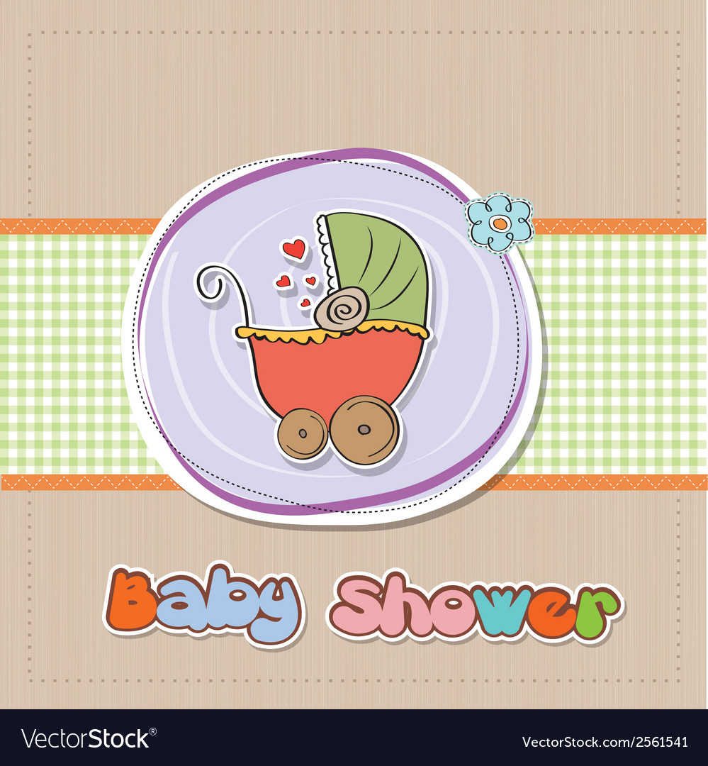 Delicate baby shower card with pram vector | Price: 1 Credit (USD $1)