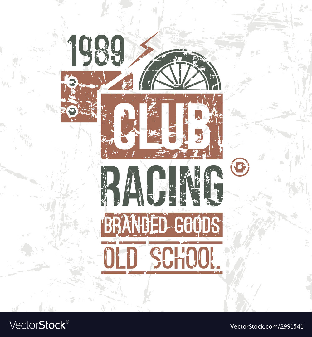 Emblem racing club old school vector | Price: 1 Credit (USD $1)