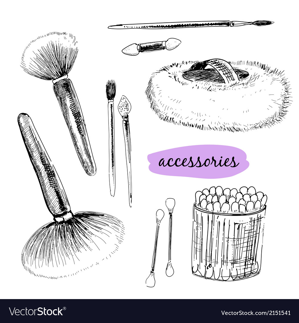 Makaup brushes and accessories vector | Price: 1 Credit (USD $1)
