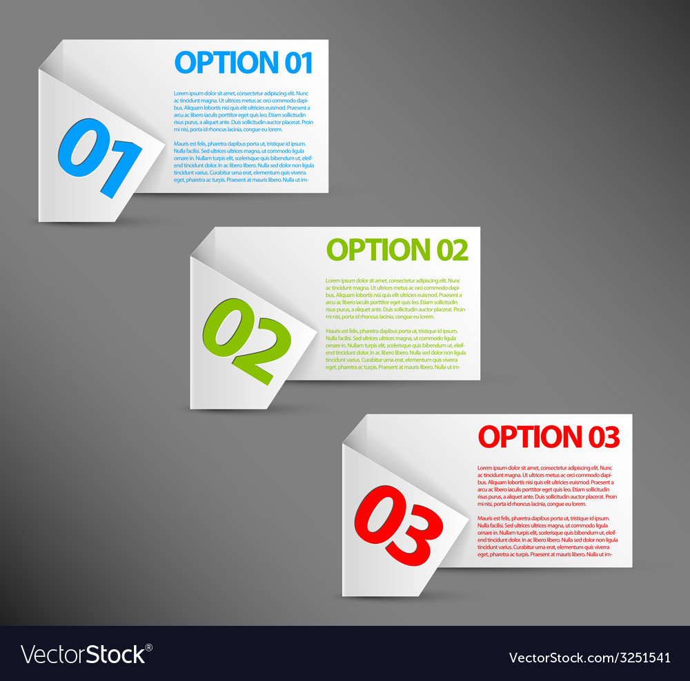 One two three - white paper options vector | Price: 1 Credit (USD $1)