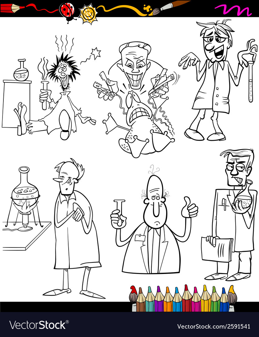 Scientists set cartoon coloring book vector | Price: 1 Credit (USD $1)