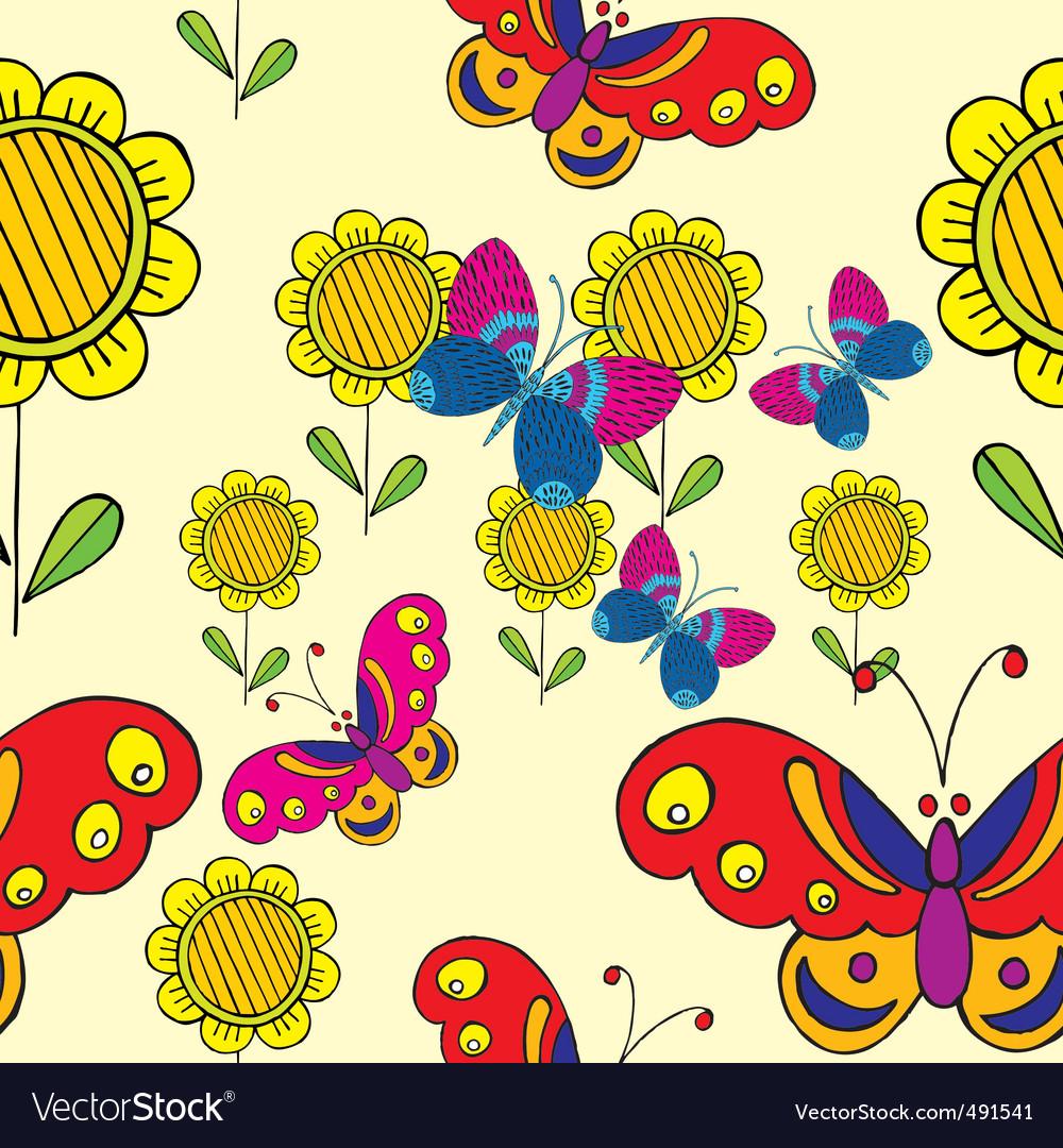 Sunflower  butterflies vector | Price: 1 Credit (USD $1)