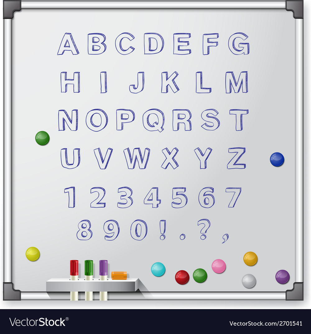White board with colored markers and handrawn vector | Price: 1 Credit (USD $1)