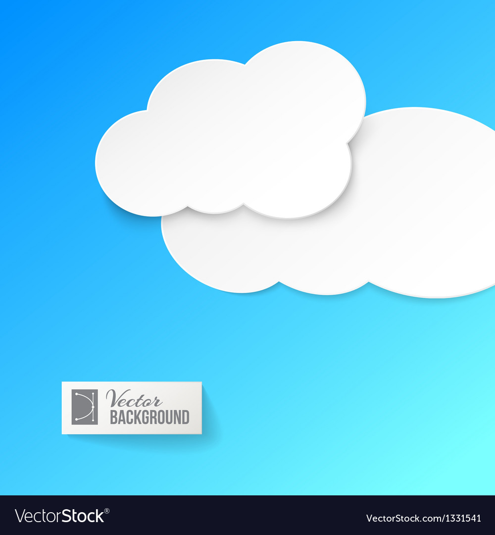 White paper clouds over blue vector | Price: 1 Credit (USD $1)