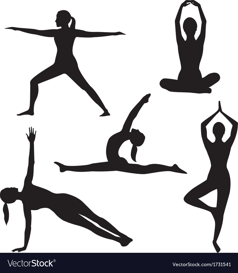 Yoga woman silhouette collection vector | Price: 1 Credit (USD $1)