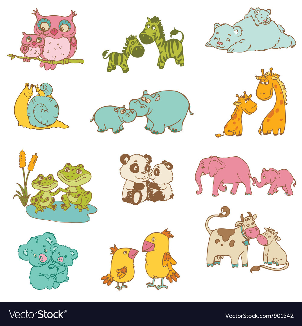 Baby and mommy animals vector | Price: 3 Credit (USD $3)