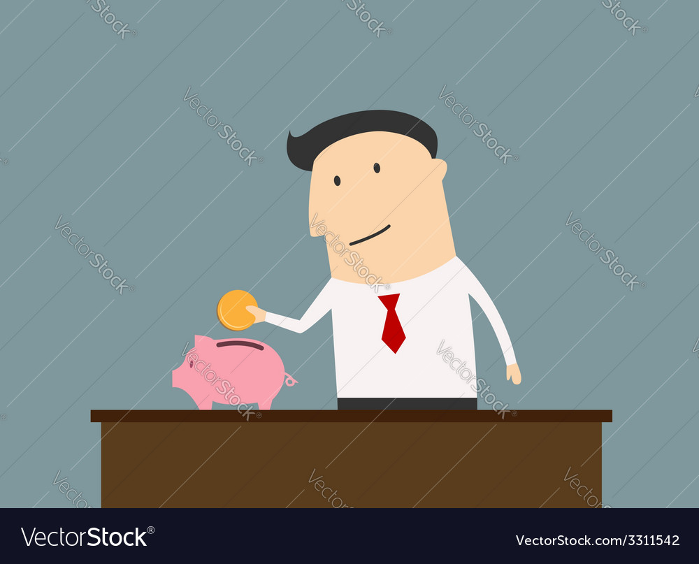 Businessman saving money in piggy bank vector | Price: 1 Credit (USD $1)