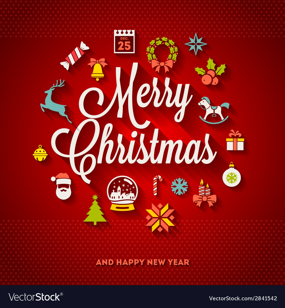 Christmas lettering with flat icons vector