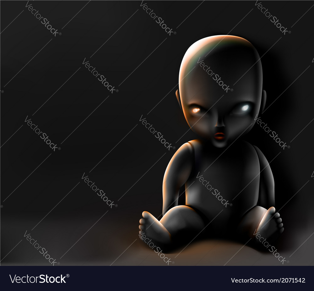 Doll on dark background vector | Price: 1 Credit (USD $1)