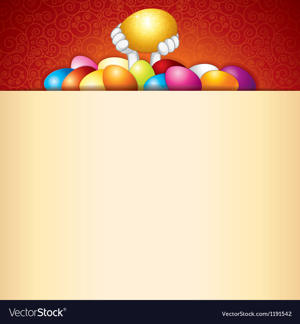 Easter background bunny and heap of painted eggs vector | Price: 1 Credit (USD $1)