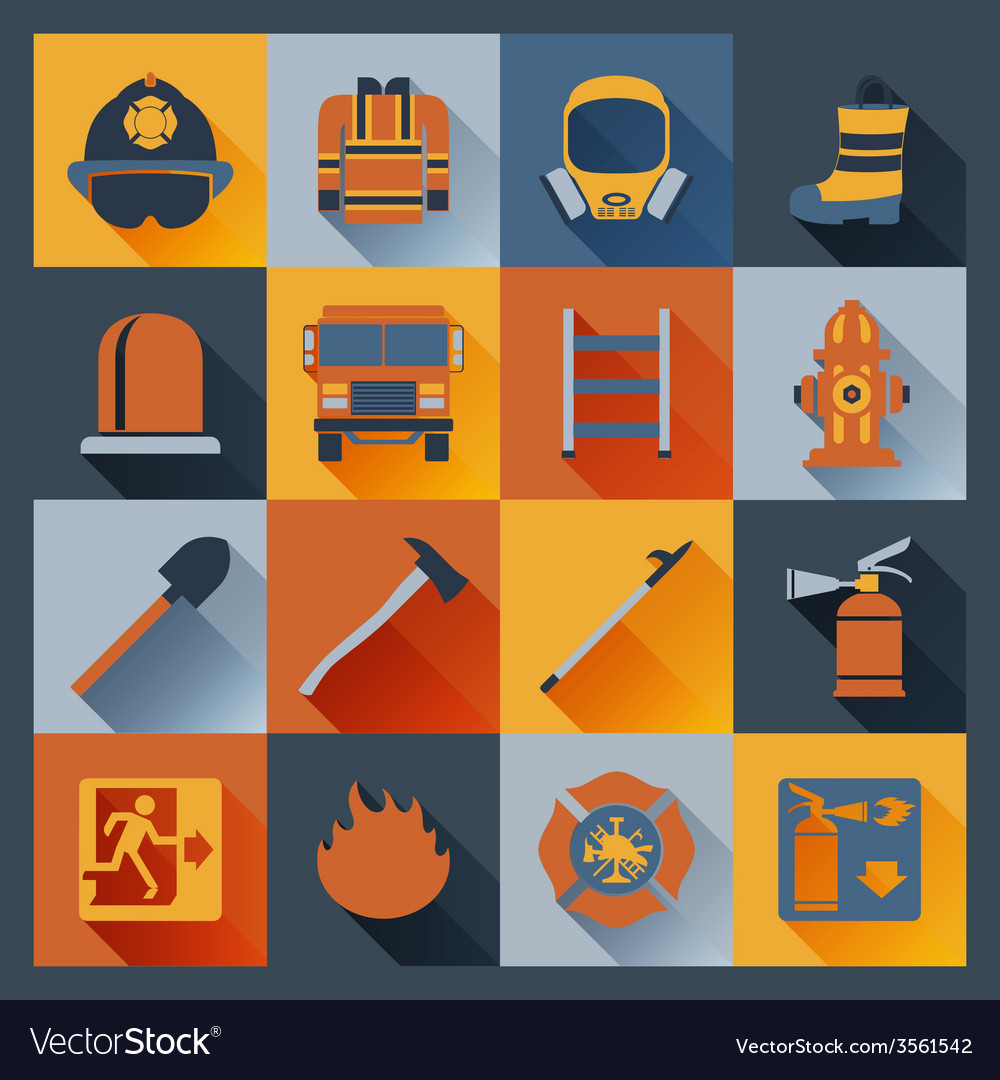 Firefighter icons flat vector | Price: 1 Credit (USD $1)